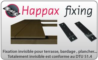 fixation invisible pour terrasse en bois happax fixing. Black Bedroom Furniture Sets. Home Design Ideas