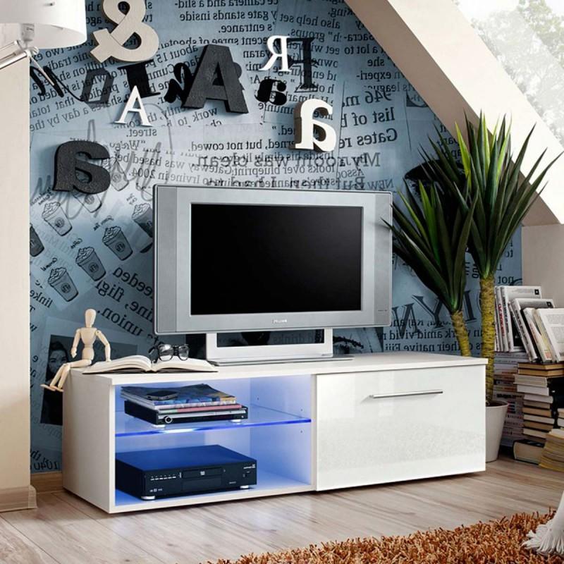 MEUBLE TV DESIGN BONO IV 120CM BLANC - PARIS PRIX