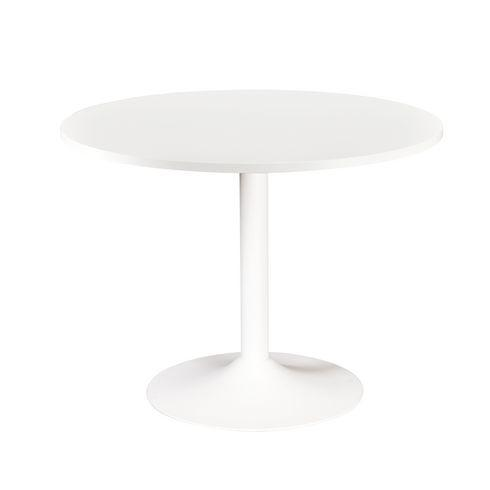 table ronde excellens plateau blanc diam tre 80 cm pied. Black Bedroom Furniture Sets. Home Design Ideas