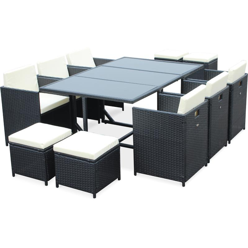 salon de jardin cubo noir table en r sine tress e 6 10 places fauteuils encastrables alice. Black Bedroom Furniture Sets. Home Design Ideas