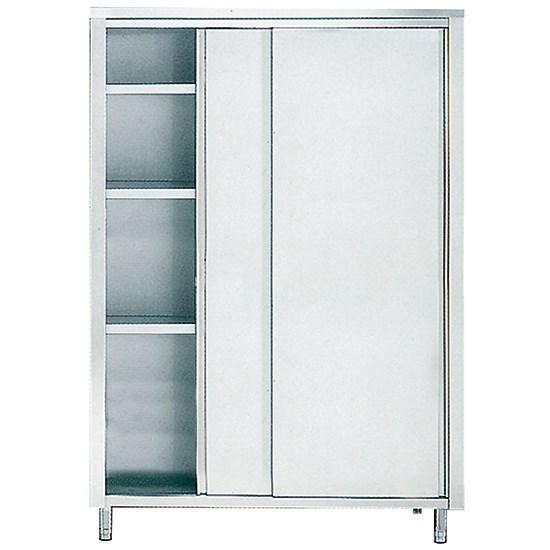 Armoire inox de rangement avec portes coulissantes et 3 étagères, 1700x700 mm - savs20717