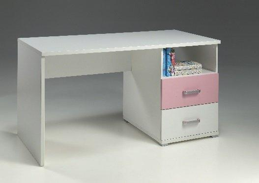 Bureau valentine 2 tiroirs blanc et rose