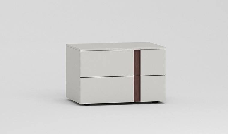 chevet 2 tiroirs gris perle et incrustation chene mode. Black Bedroom Furniture Sets. Home Design Ideas