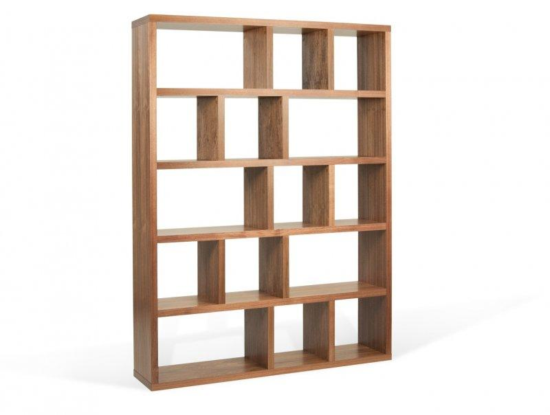 Berlin bibliotheque etagere noyer 15 casiers for Solde meuble salon