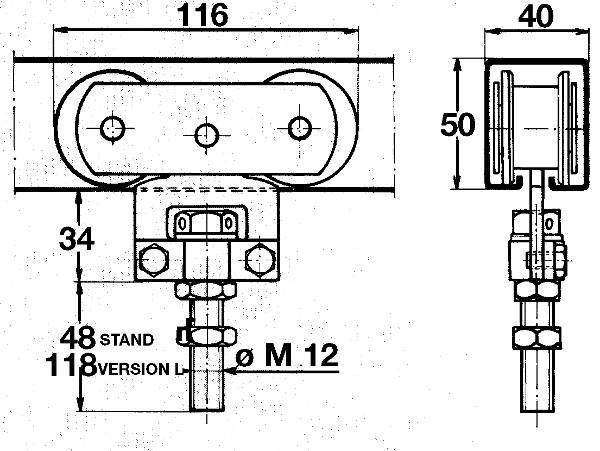 monture a galet pour rail tub 50x40 comparer les prix de. Black Bedroom Furniture Sets. Home Design Ideas