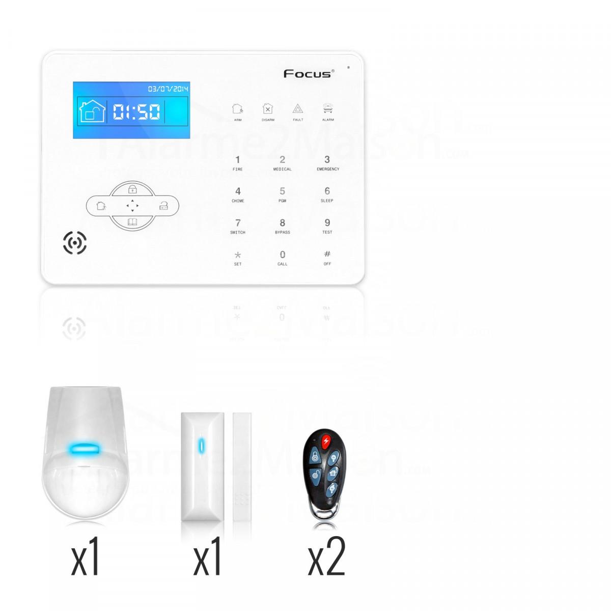 alarme maison sans fil focus rtc t l phonique 1 2 pi ces comparer les prix de alarme maison. Black Bedroom Furniture Sets. Home Design Ideas
