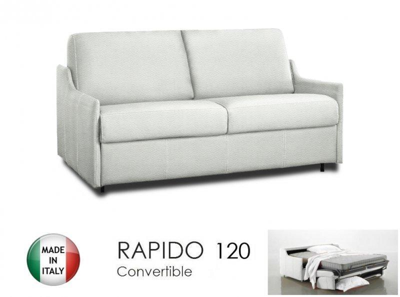 canape lit 2 3 places luna convertible ouverture rapido 120cm cuir eco blanc. Black Bedroom Furniture Sets. Home Design Ideas