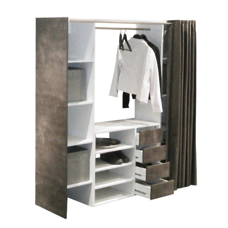 Dressing extensible chica 2 colonnes 4 tiroirs blanc / béton avec ...