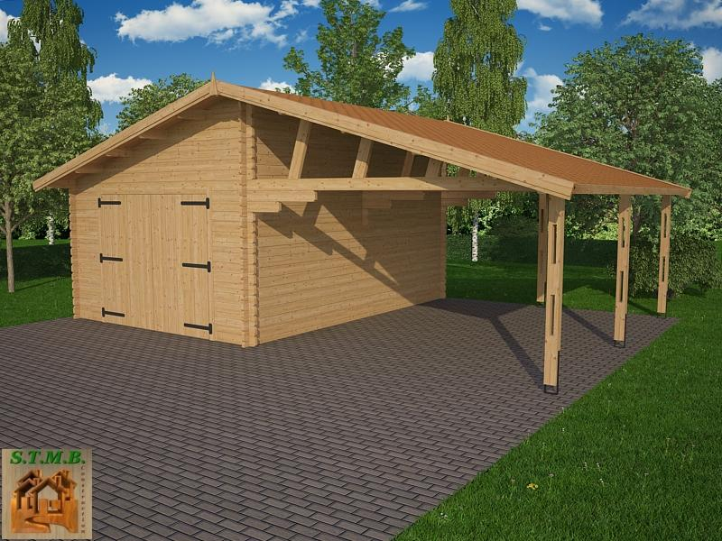 garage avec carport bois granvillier 44 44 m toit. Black Bedroom Furniture Sets. Home Design Ideas