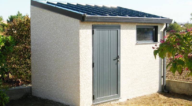 meilleure sélection e5215 148a7 Abri de jardin en béton 1 pente couverture bac acier 1 porte ...