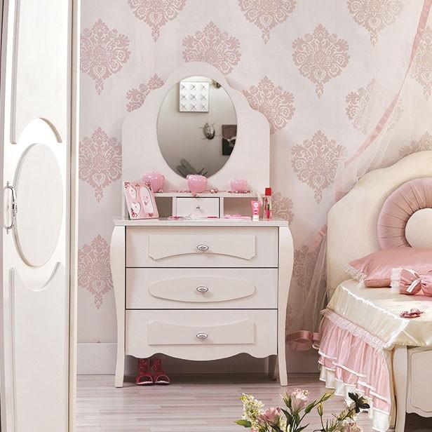 Coiffeuse fille rose et creme avec miroir integre contemporaine sara