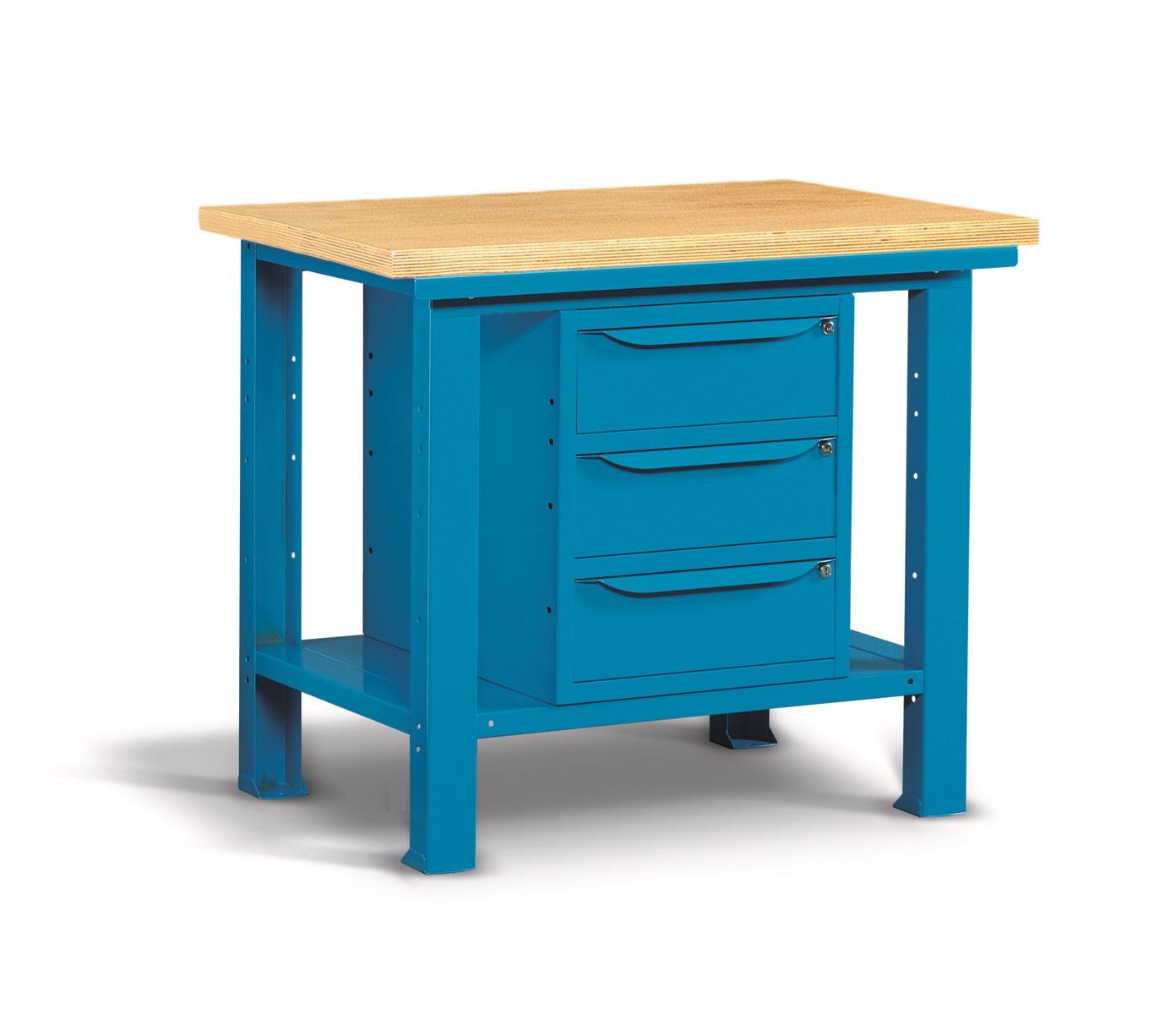 etabli d 39 atelier plateau bois et 3 tiroirs 1m comparer les prix de etabli d 39 atelier plateau bois. Black Bedroom Furniture Sets. Home Design Ideas