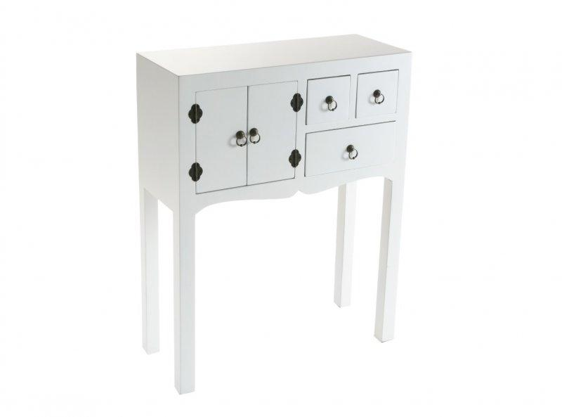 matmata petite console design blanc en bois 3 tiroirs 2 portes. Black Bedroom Furniture Sets. Home Design Ideas