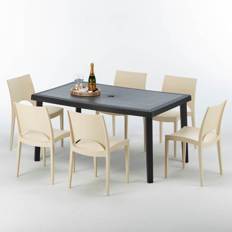 TABLE RECTANGULAIRE ET 6 CHAISES POLY ROTIN COLORÉES 150X90CM NOIR ENJOY | PARIS BEIGE IVOIRE GRAND SOLEIL