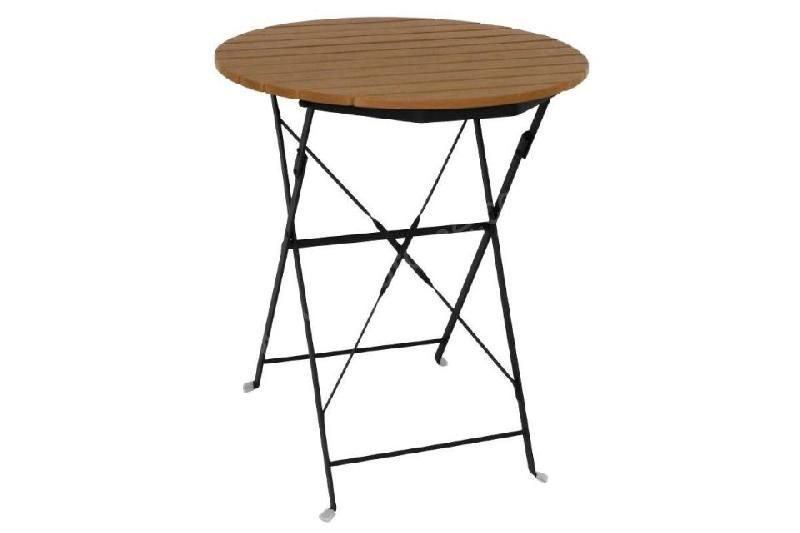 TABLE DE TERRASSE PLIANTE RONDE IMITATION BOIS BOLERO - Ø 600 MM