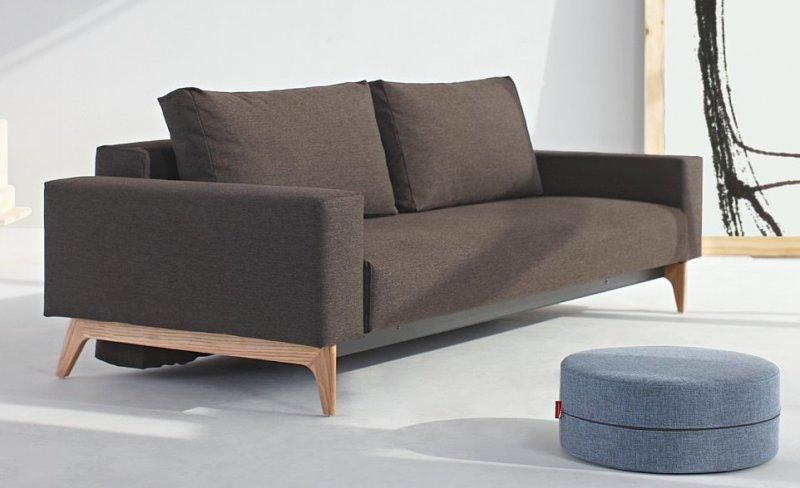 Idun canape design marron convertible lit 200 140 cm par innovation living - Canape convertible couchage 140 ...