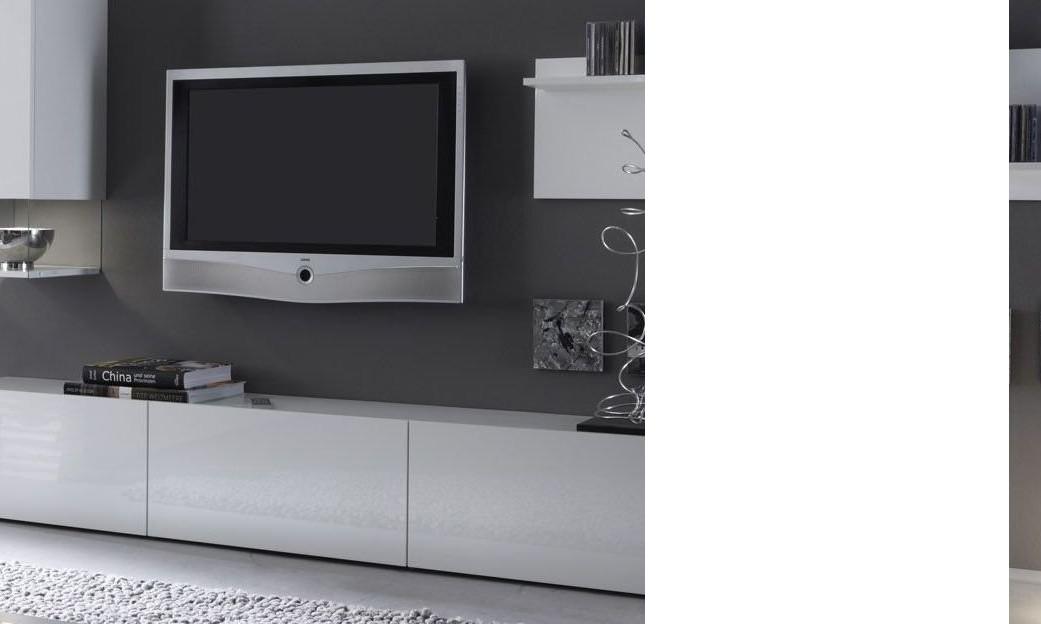 Meuble Tele Banc Tv Design Laque Blanc Madere