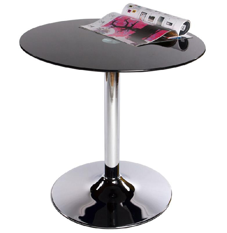 Table d 39 appoint 39 bistro 39 ronde en verre noir comparer les for Table ronde d appoint