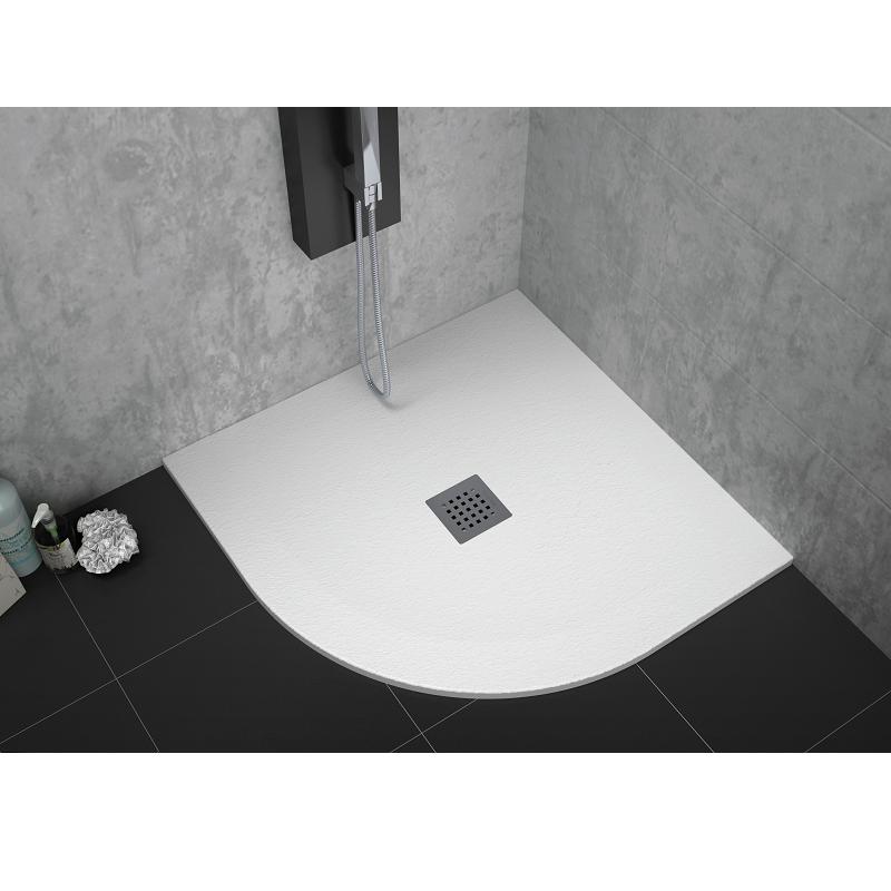 receveur de douche 90 x 90 cm extra plat strato surface ardois e semi circulaire blanc comparer. Black Bedroom Furniture Sets. Home Design Ideas