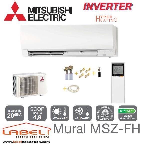 CLIMATISATION RÉVERSIBLE MITSUBISHI MSZ-FH25VE/MUZ-FH25VEHZ + KIT