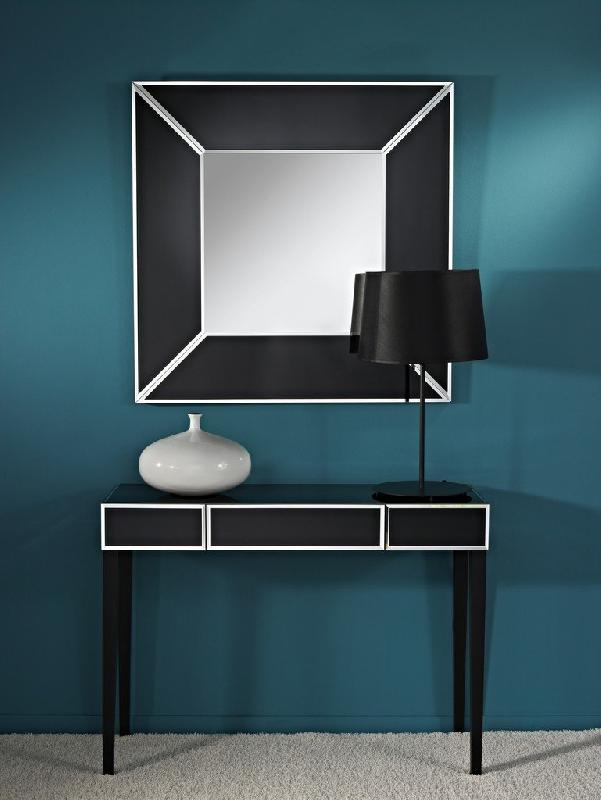 diamant ensemble console et miroir en verre noir. Black Bedroom Furniture Sets. Home Design Ideas