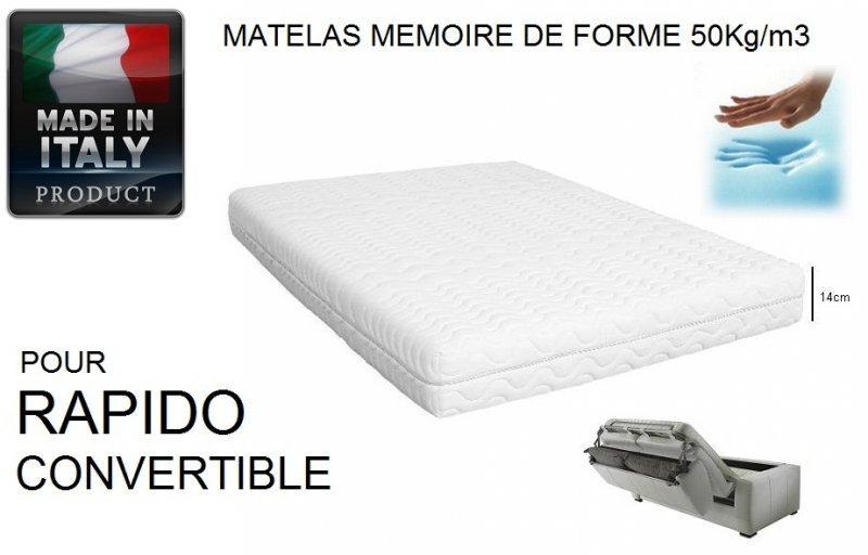 Matelas memory 50kg m3 memoire de forme epaisseur 14cm - Matelas mousse pour canape convertible ...