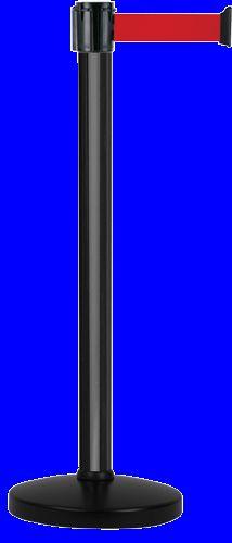 Poteau Alu Noir laqué à sangle Rouge 4m x 50mm sur socle portable - 2052290