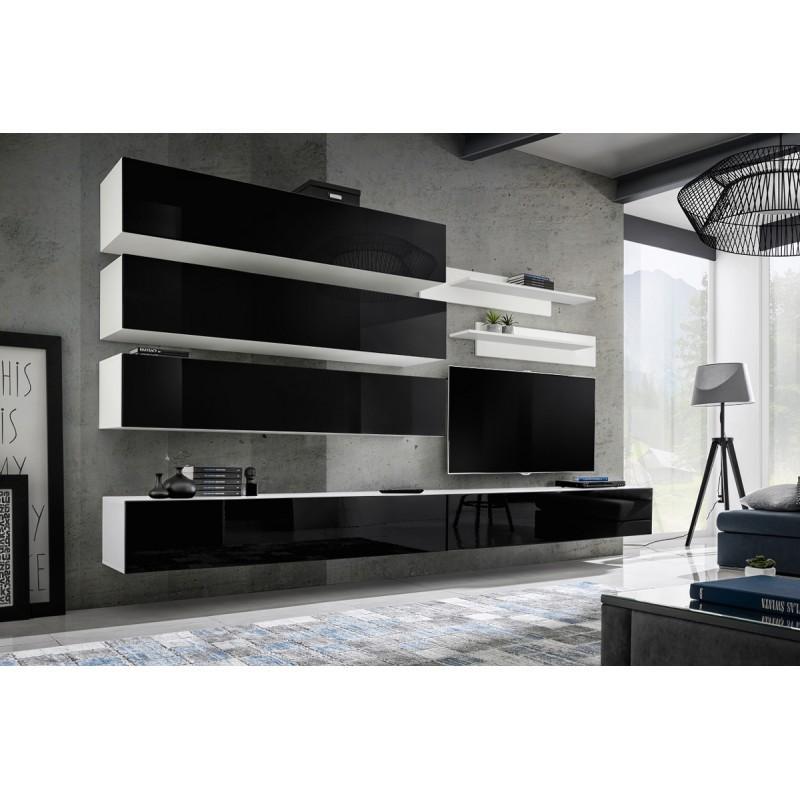 Meuble tv mural design fly ix 320cm noir   blanc - paris prix 4a25e9bd36e7