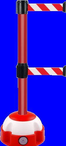 Poteau alu rouge à double sangle rouge/blanc hachuré 3m x 50mm sur socle balise - 2900102