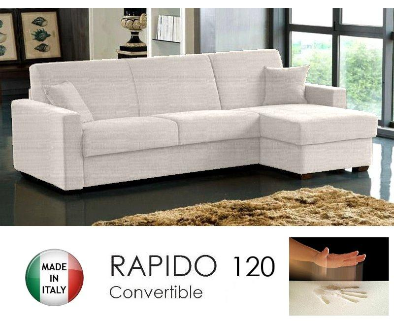 Canape d 39 angle convertible rapido 120cm dreamer tissu tweed cross ecru m - Canape d angle convertible couchage quotidien ...