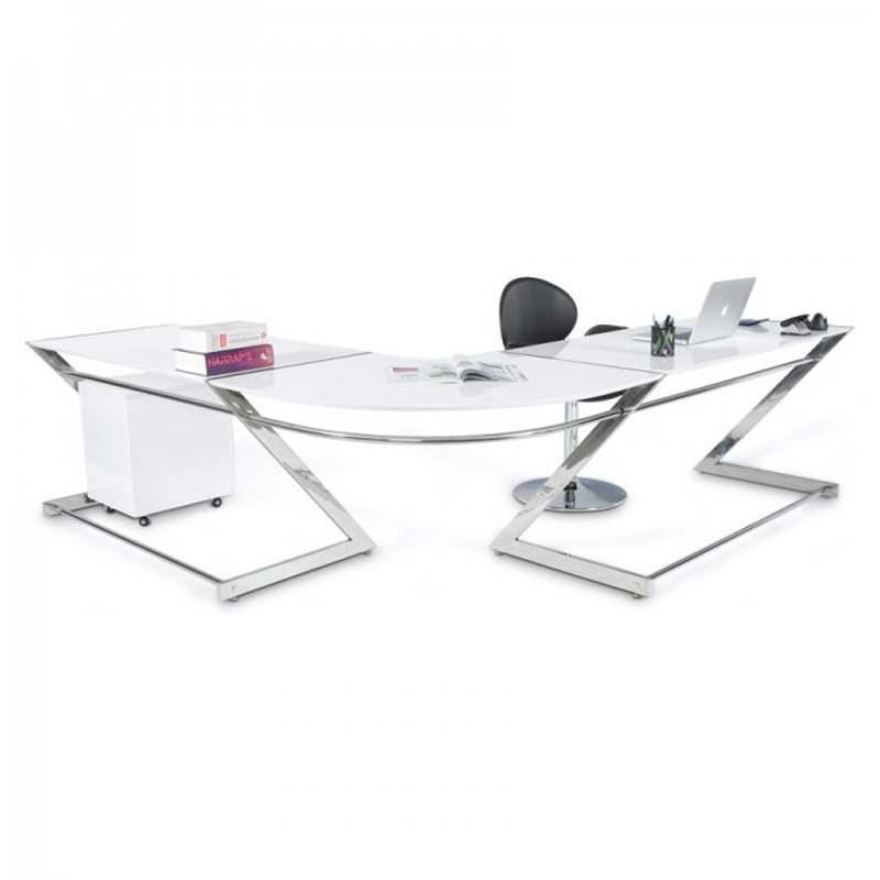 Bureau design en bois zigzag 148cm blanc - paris prix