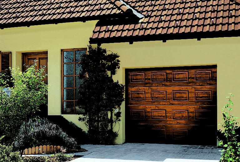 porte de garage sectionnelle a cassettes decograin bois. Black Bedroom Furniture Sets. Home Design Ideas