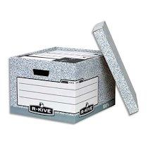 CAISSE À ARCHIVES CARTON BANKERS BOX XL H 28,7 X L 38 X P 43 CM, MONTAGE AUTOMATIQUE, GRIS/BLANC. - LOT DE 10