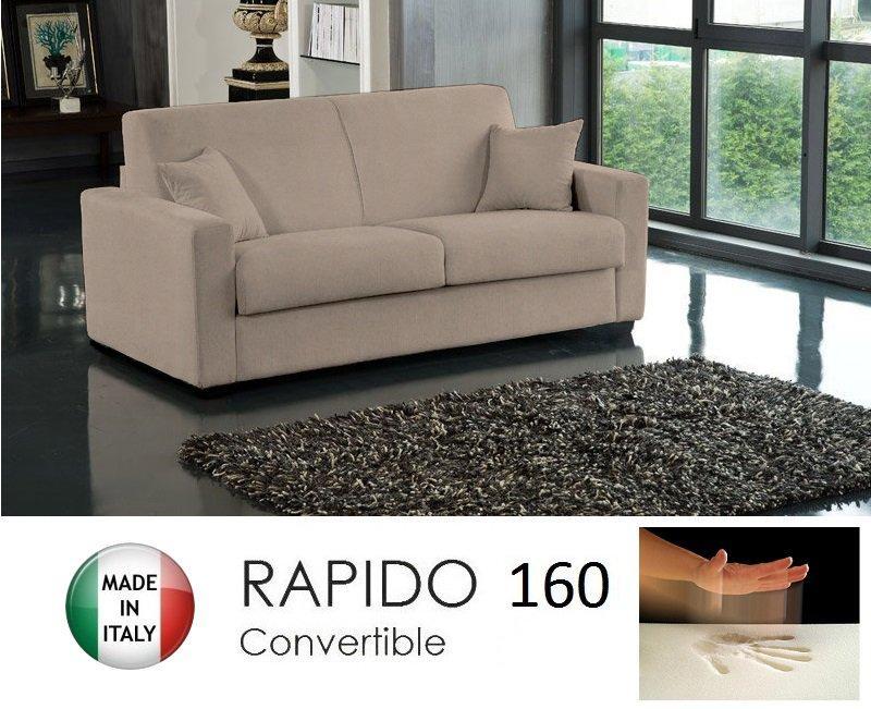 canape convertible rapido 160cm dreamer tissu microfibre ecru matelas 160 14 190 cm a memoire. Black Bedroom Furniture Sets. Home Design Ideas