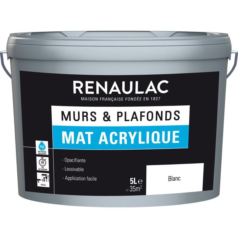PEINTURE RENAULAC MURS ET PLAFONDS MAT ACRYLIQUE BLANC 5L