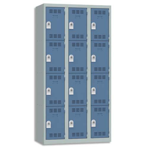 VINCO VESTIAIRE 4 CASES + 3 COLONNES - DIMENSIONS : L90 X H180 X P50 CM GRIS PERLE BLEU