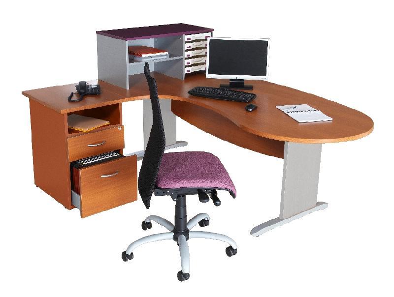 bureau mercure convivial pieds panneaux retour a gauche merisier alu. Black Bedroom Furniture Sets. Home Design Ideas