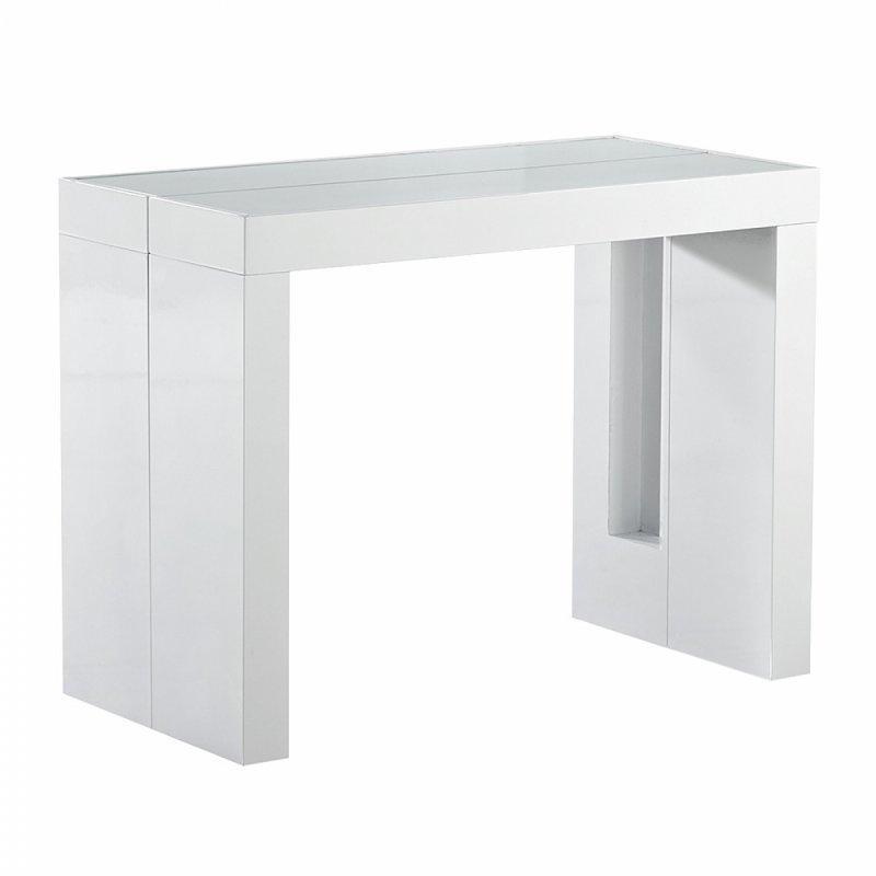 Console extensible space rallonges integrees laquee blanche - Console extensible avec rallonges integrees ...