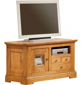 Meuble tv hifi lcd plasma chene 1 porte 3 tiroirs 1 niche for Meuble hifi porte