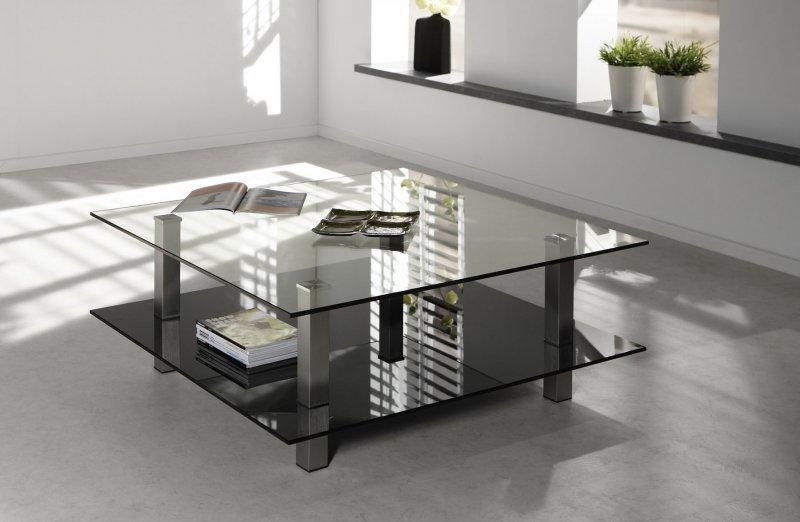 Careka table basse verre double plateaux design - Table basse design en verre ...