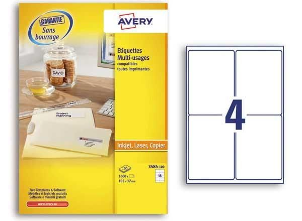 PLANCHES D'ÉTIQUETTES MULTIUSAGES AVERY 105X148 MMSOIT 400 ÉTIQ/BOÎTE - NEUF - AVERY - 3483-100
