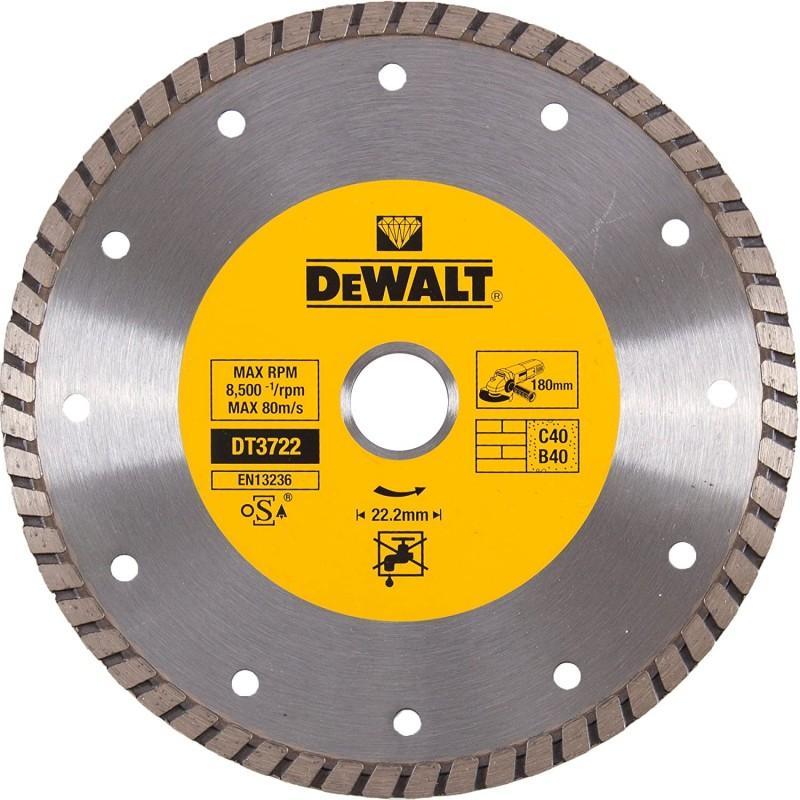 Dewalt dt3722-qz disque turbo pour matériaux de construction/béton 180x22.2mm 22.2