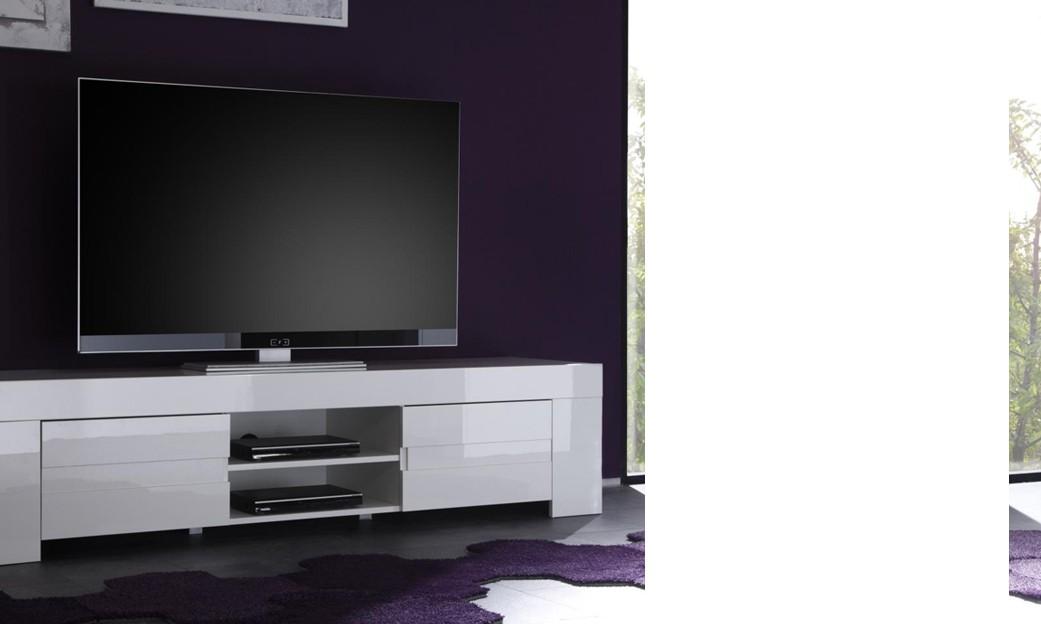 Meuble Tele Hifi Design Elios Coloris Blanc Laque