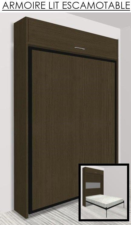 armoire lit escamotable eos chene moka couchage 140 22 200 cm. Black Bedroom Furniture Sets. Home Design Ideas