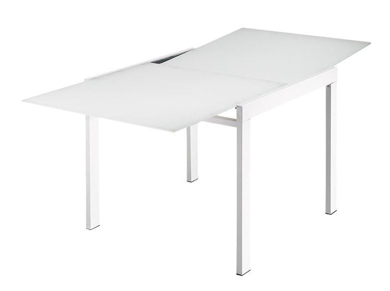 Galaxy table repas extensible rectangulaire verre blanc for Table verre blanc extensible
