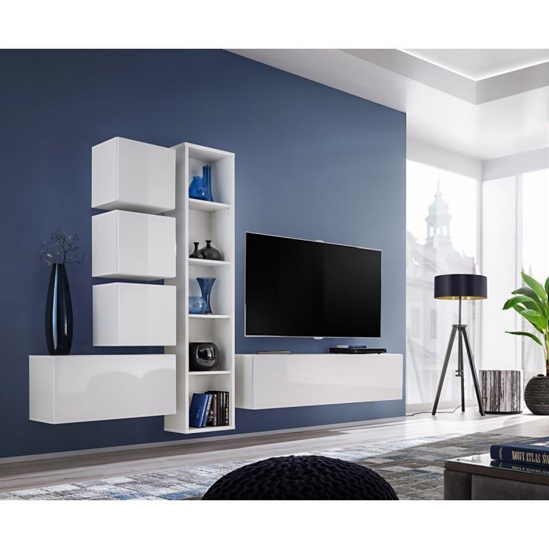 Meuble Tv Mural Design Blox Iii 280cm Blanc Paris Prix
