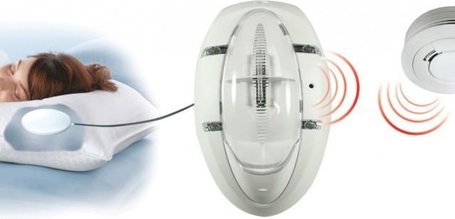 detecteur de fumee daaf pile pour personnes malentendantes ou sourdes. Black Bedroom Furniture Sets. Home Design Ideas