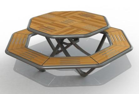Table de picnic octogonale pour collectivités