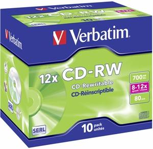 1X10 VERBATIM CD-RW 80 / 700MB 8X - 12X SPEED, JEWEL CASE