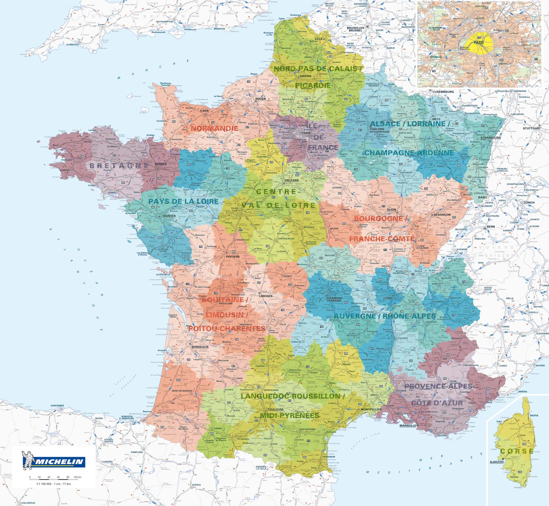 carte de france 2017 michelin